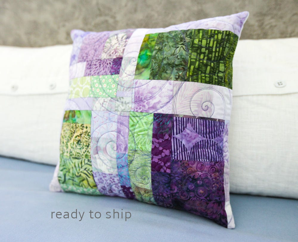 Patchwork Quilted Pillow 15x15 Modern Decorative Purple Pillow