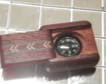 Handmade Marquetry Case, Chevron Design with Compass
