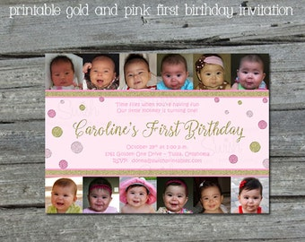 Pink and Gold First Birthday Party Invitation - Gold Pink Glitter - Photo collage printable 5x7 Invite - Digital