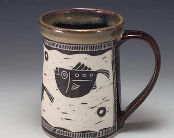 Stylized Fish Sgraffito designed Mug Webb Pottery