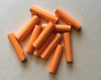 11 Handmade paper beads - cylinder/tube bright orange