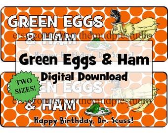 Green Eggs and Ham Treat Topper Tag Label Dr Seuss - Digital Download