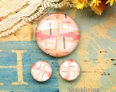 Pink Geometry Glass Dome, 8mm 10mm 12mm 14mm 16mm 18mm 20mm 25mm 30mm Photo Glass Cabochons - RCH014R