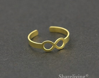 2pcs Raw Brass Infinite Ring, Adjustable Symbol Brass Rings - TR010