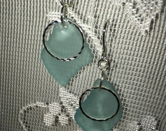 Lovely aqua blue sea glass dangle earrings embellished with sparkly silver hoop beach glass inspired jewelry