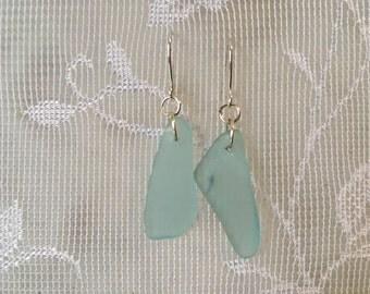 Aqua canning jar beachglass inspired earrings, mason jar turquoise glass earrings