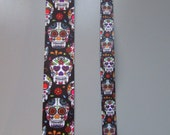 Black Sugar Skull  Day of the Dead Calaveras Grosgrain Ribbon x 1 metre available in two widths