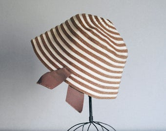 Straw Cloche Hat, Beige White Stripes, Betmar Bucket Hat, Mid Century Accessories, Spring Fashion, Grosgrain Ribbon, Flapper Hat