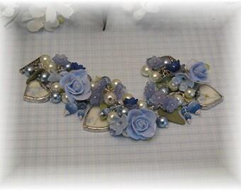 Broken China Bracelet - Porcelain Clay Bracelet - Charm Bracelet - Handmade Bracelet - Bridal Bracelet - Bridal Jewelry