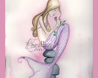 Single Rose Mermaid Print  from Original Watercolor Painting by Camille Grimshaw