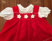 Two Piece Red Velvet Dress 6/9 Months