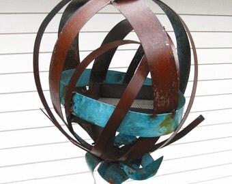 Sculptural Steel & Copper Bird Feeder No. 346 - Freestanding unique modern bird feeder garden globe
