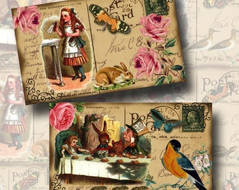 Alice In Wonderland -3x5 PostCards- Fun, Clever, Whimsical -INSTaNT DOWNLoAD- Printable Collage Sheet JPG Digital File