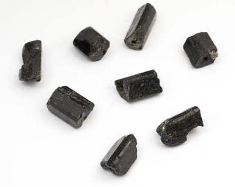 8 pcs long cylinder black tourmaline beads, small semiprecious average size 12mm