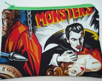 Horror Movie Monsters Zipper Pouch: Frankenstein, Dracula, The Mummy.