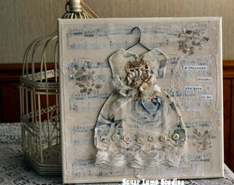 A Thousand Dreams Vintage Altered Dress Collage Canvas 10 x 10 inches with vintage embellishments