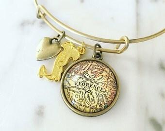 Florence Vintage Map Charm Bangle Bracelet - Personalized Map Jewelry - Bangle - Tuscany - Italy - Honeymoon - Firenze