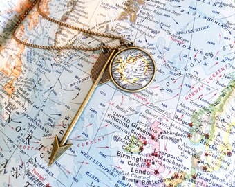 Custom Vintage Map Arrow Necklace - You Choose Location - Travel Jewelry - World Map Jewelry - Wanderlust Necklace - Hello World