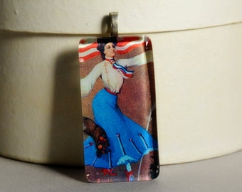 CLEARANCE SALE - Glass Tile Pendant #4 - Patriot - Vintage Lady Patriot