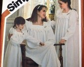 Vintage 80's Sewing Pattern Simplicity 5179 Misses Girls and Child's Nightgowns  Complete Uncut FF