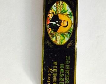 """vintage tin Dannemann Brasil Pierrot Lonja Cigarillos made in West Germany 6"""" buy 2"""" by 1/2"""""""