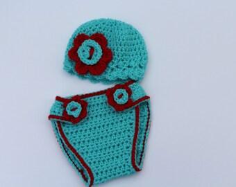Crochet baby diaper cover hat  set, newborn diaper cover hat set, newborn photography prop, Crochet baby hat, Crochet baby diaper cover
