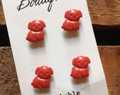 Vintage Children's Red Puppy Buttons - 4 Buttons on Original Packaging Card, Children's Buttons, Puppy Buttons, Dog Buttons, Sewing Supplies