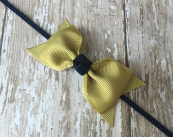 Gold and Navy Headband Ga Tech Inspired Headband Georgia Tech Inspired Headband Tuxedo Bow Skinny Elastic Headband Toddler Hair Bow Bowband