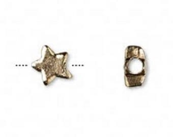 Antique Gold-Plated Star Bead, 7mm x 6mm, made in USA