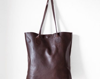 Espresso Brown Leather Tote / Nappa Leather Tote Bag / Dark Brown Tote Bag / Leather Handbag / Brown handbag / Leather bag /Brown purse