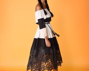Runway Original - Black and White Georgette Blouse and Skirt, w/ Lace Appliques & French Lace Hem