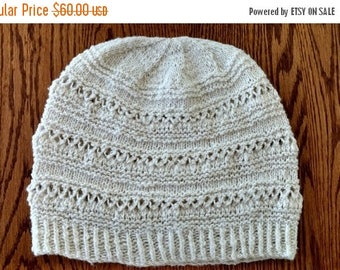 May Sale - 20% off Winter Folk Lace Hat in Rustic Merino Wool - US Grown Merino from the Mountain West, Handknit Hat, Winter, Mori Girl, Lac