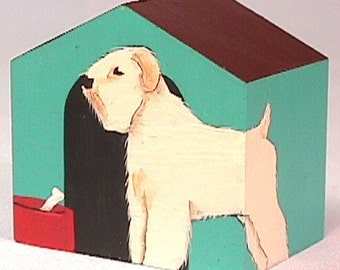 Ornament Soft Coated Wheaten Terrier Doghouse hand painted on wood