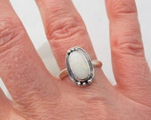 Australian Opal Ring, Silver Opal Ring, Artisan Jewelry, Sterling Silver Ring, Size 7, Natural Opal Jewelry