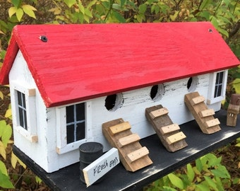 Snow Storm Sale Chicken Coop Hen House Primitive Birdhouse Three Compartment