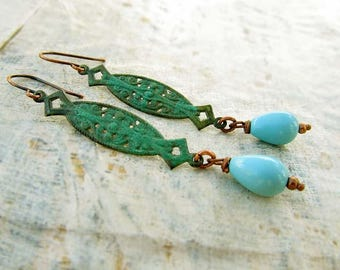 Turquoise earrings - Patina dangle earrings - rustic jewelry - boho bohemian jewelry
