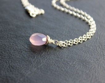 Lilac Chalcedony Sterling Silver Necklace