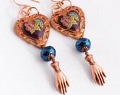 Heart Earrings, Victorian Inspired Earrings, Valentine's Gift for Her, Mid Century Glass Hearts, Glove Hand Charm Earrings, Handmade Jewelry