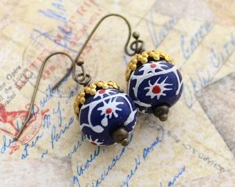African Trade Bead Earrings, Krobo or Ashanti Ghana Beaded Earrings, Star Flower Bead Earrings, Red White and Blue Earrings, Ethnic Earrings