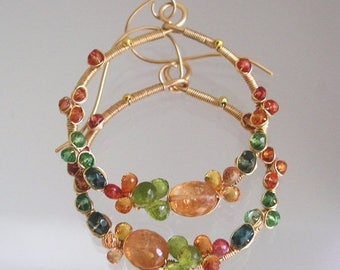 Gemstone Encrusted Hoops, Wire Wrapped Gold Filled Earrings, Imperial Topaz, Green Tsavorite, Sapphire, Gardener, Original Design, Signature