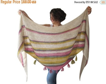 WINTER SALE NEW! Mohair Shawl - Triangle Shawl with Fringe by Afra