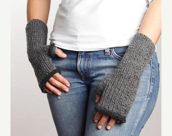 WINTER SALE Gray - Dark Gray Knitting Fingerless Gloves