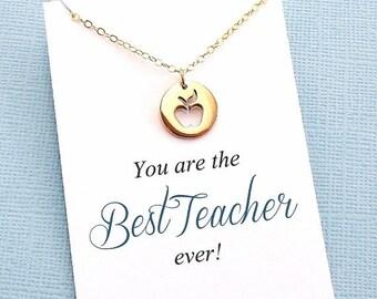 SALE - Teacher Appreciation | Apple Necklace, Teacher Gifts, Mentor Gift, Mentor, Mentor Appreciation, Mentor Teacher Gift, Silver or Gold |