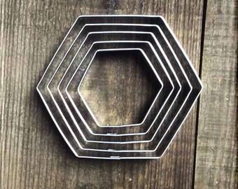 Set of 5 Hexagon Metal Cookie Cutters #NAWK155
