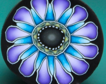 Purple and Blue Polymer Clay Flower Cane -'Oma's Garden' series (24A)