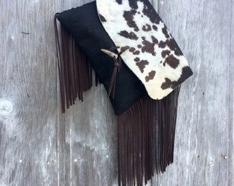 Very Rustic Cowhide Oversized Clutch with Leather Fringe by Stacy  Leigh