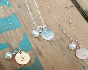 Initial Tag Necklace, Dainty Initial Necklace, Rose Gold Initial, Sterling Silver