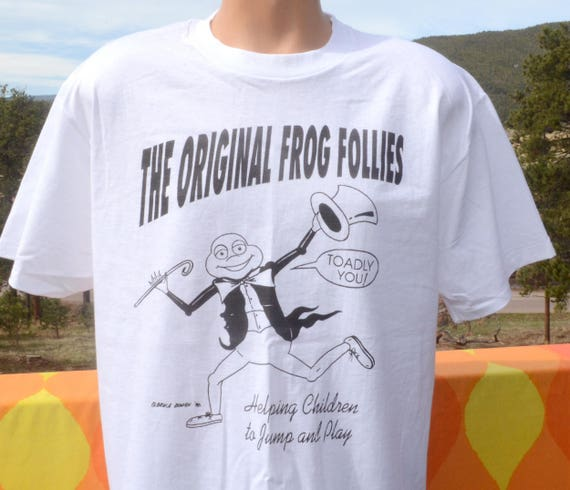 vintage 90s t-shirt FROG FOLLIES help kids jump wtf tee Large soft thin new