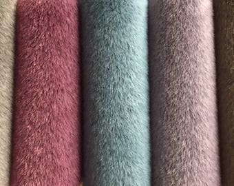"""NEW!  Sassy Long Pile - Premium Fabric for making Mini Teddy Bears - by Emily Farmer - Hand Dyed - LOT D - 5 Pieces - 9"""" x 7"""""""