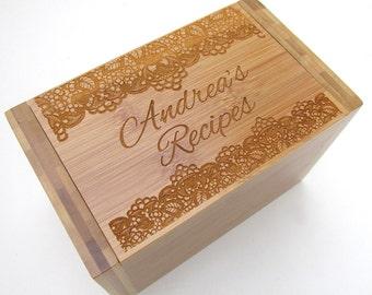 Personalized Recipe Box - Lace Design - Bamboo Recipe Box - Custom Personalized Wooden Recipe Box